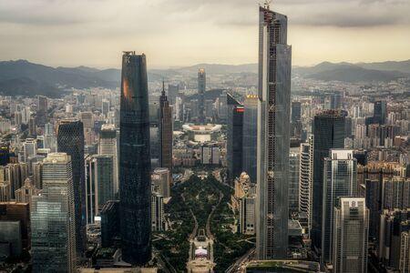 広州市の広州タワー観測 viewdeck からの眺め。 中国