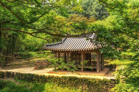 Traditional Korean pagoda and temple. Taken in Sosewon, South Korea