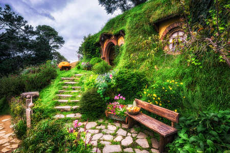 bilbo baggins home and hobbit garden in hobbiton movie set, new zealand. Taken during summer.