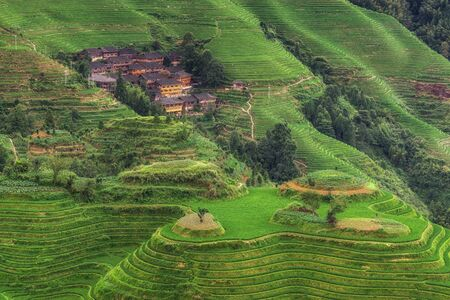 The longji rice terrace viewed from the viewpoint number 2 thousand layers to the heaven. Longsheng, China Stock Photo