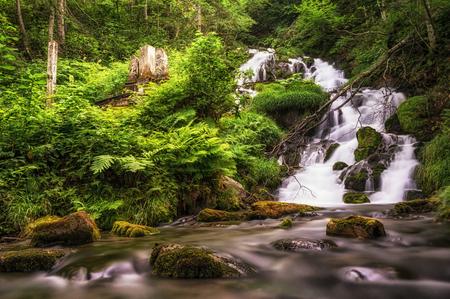 Small cascading waterfall in a creek taken in Biei, Japan. Stock Photo