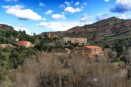 A small village located in the montserrat mountain range in spain. Stock Photo