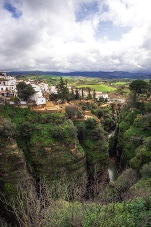Ronda city perched on el tajo canyon. Ronda, Spain