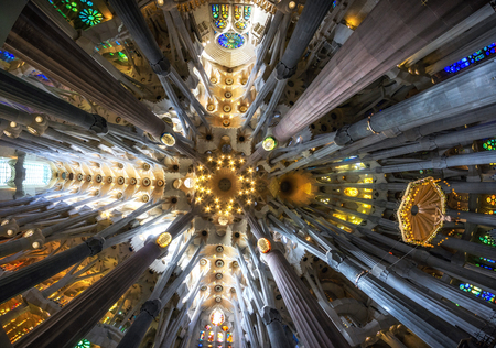 tall columns line up the interior of sagrada familia with colorful lights from stained glasses. Taken in Barcelona, Spain