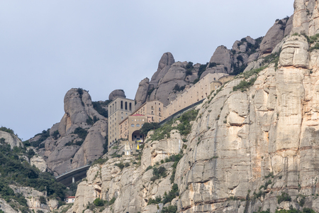 montserrat cable car ride with the view of the abbey from the cable car station Stock Photo