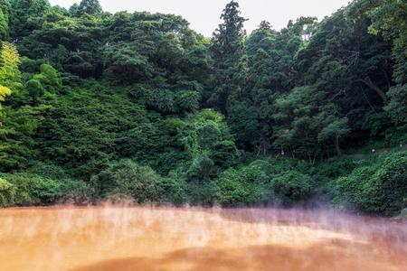 chinoike jigoku or blood pond hell hot spring geyser in Beppu, Japan Stock Photo