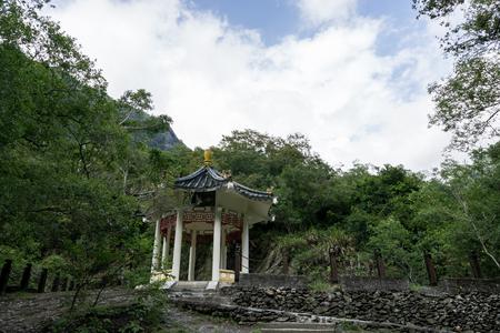 Yue Fei Pavilion viewed with surrounding trees. Taken in Taroko National Park in Taiwan