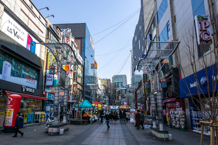 shops and restaurants line up the biff square streets. Biff square is a famous shopping district in nampodong district in Busan, South Korea. Taken on February 13th 2019