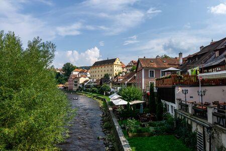 cesky krumlov town homes and shops along the river vltava. Czech Republic. Taken on August 28th 2019