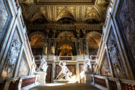 main kunsthistorisches museum wien lobby view with beautiful stairs and ceiling arts. Taken on August 29th 2019.