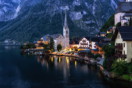 Hallstatt village and the lake viewed from one of the viewing points in the area. A famous tourist attraction in Austria.