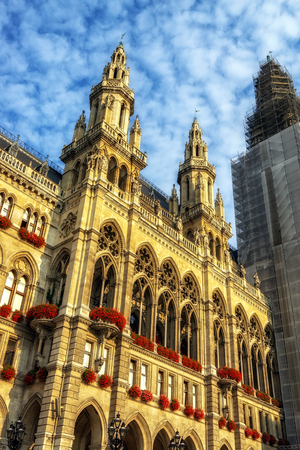 famous rathaus or cityhall in vienna austria taken during sunny summer day.