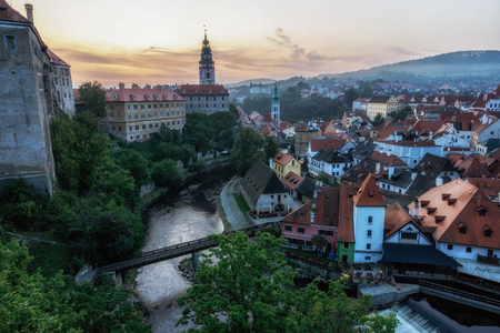 the sunrise view of cesky krumlov a small town in czech republic from the castle viewpoint area.