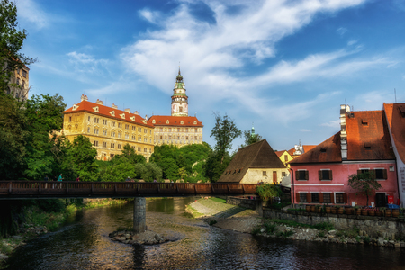 small town of cesky krumlov castle and vltava river. Famous tourist attraction in Czech Republic Redakční