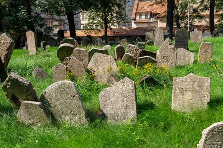 old jewish cemetery view in prague jewish town in prague, czech republic