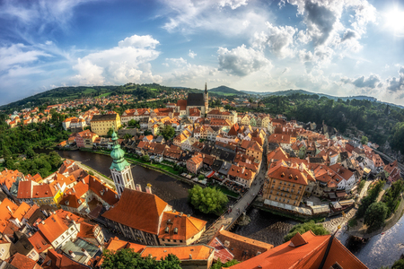 small town of cesky krumlov viewed from the main castle tower. Famous tourist attraction in Czech Republic
