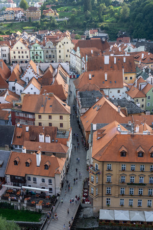 small town of cesky krumlov viewed from the main castle tower. Famous tourist attraction in Czech Republic Reklamní fotografie - 129999783