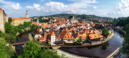small town of cesky krumlov viewed from the castle. Famous tourist attraction in Czech Republic Reklamní fotografie - 129999785