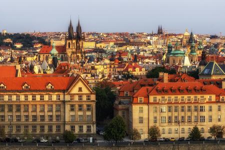 sunset view of prague city from letna park in prague, czech republic .