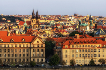 sunset view of prague city from letna park in prague, czech republic . Reklamní fotografie - 129999792