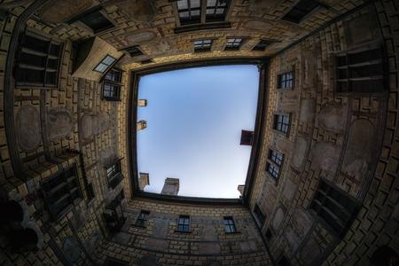 cesky krumlov castle walls from inside viewed from below. Famous landmark in Czech Republic.