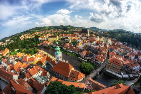 small town of cesky krumlov viewed from the main castle tower. Famous tourist attraction in Czech Republic Reklamní fotografie - 129999799