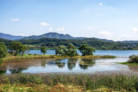 The view of Bukhangang river and Garden of Water ecological park taken during early fall. Famous park in Namyangju in South Korea. Reklamní fotografie