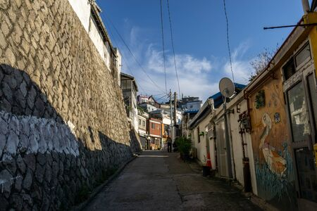 narrow alleyways and streets of ihwa mural village in seoul, south korea.