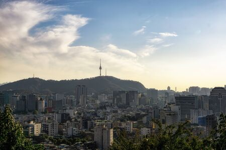 the view of namsan tower from naksan park in seoul, south korea Reklamní fotografie