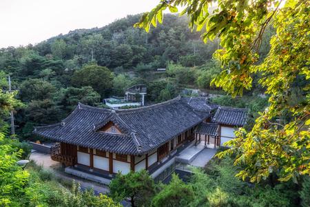 A traditional korean hanok styled library in mountain inwang in seoul, south korea.