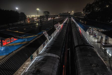 Old delhi train station or delhi junction railway station taken at night. New Delhi, India