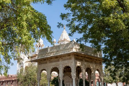 white marbled gazebo. Jaswant thada is a cenotaph located in Jodhpur and serves as the creamation ground for the royal family of marwar. Jodhpur, India