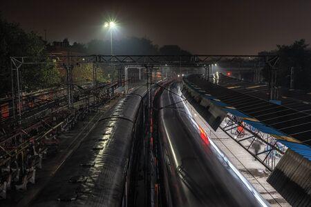Old delhi train station or delhi junction railway station taken at night. New Delhi, India Stock fotó
