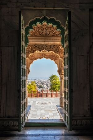 patterns engraved on the entrance to the main mausoleum or cenotaph in jaswant thada, jodhpur, india.