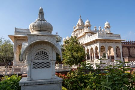Jaswant Thada three gazebos glistening in sunlight. Taken in Jodhpur, India.