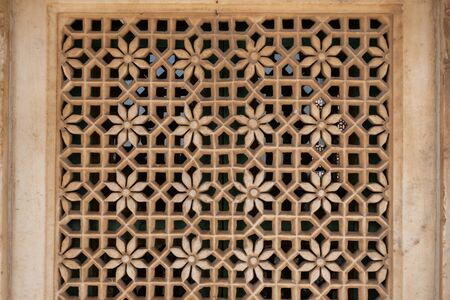 patterns on a small windows of jaswant thada in Jodhpur, India