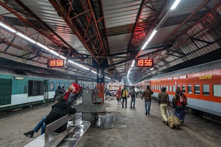 Old delhi train station or delhi junction railway station platforms with people and train waiting. January 13th 2020. New Delhi, India