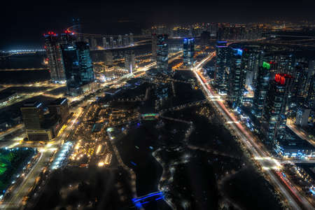 The view of Songdo international city and the central park at night. Taken in Songdo, Incheon, South Korea on November 13th 2020 Editorial