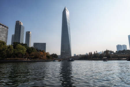 The view of various hotels and buildings from Songdo central park lake. Taken in Songdo, IncheonSouth Korea.
