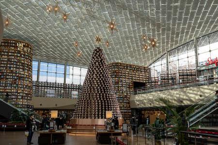 Coex mall starfield library taken during christmas season with the christmas tree on display.