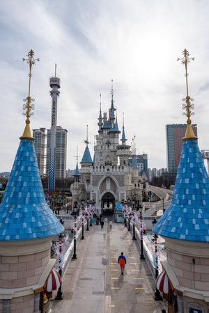 Lotte world amusement park outdoor magic island view. Taken in Seoul, South Korea.