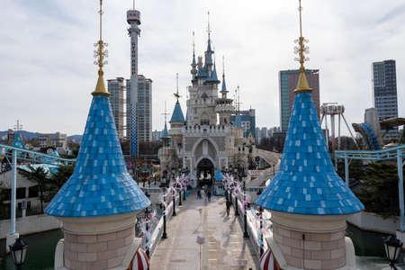 Lotte world amusement park outdoor magic island view.
