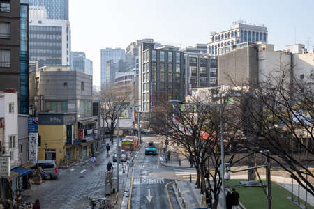 The main street of Insadong taken during winter times in Seoul, South Korea.