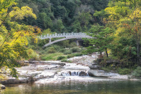 Odaesan Woljeongsa Geumganggyo bridge surrounded by a stream and trees. Taken in Odaesan, South Korea
