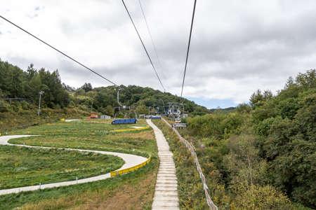 Pyeongchang ski resort ski lift taken during summer time. Alpensia ski resort, South Korea taken on September 26th 2021 Editorial