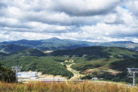 Mountains of Pyeongchang taken from top of Alpensia ski mountain in Pyeongchang, South Korea