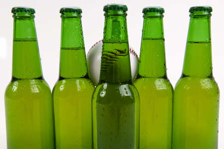 Cold beer bottles posed for baseball players photo