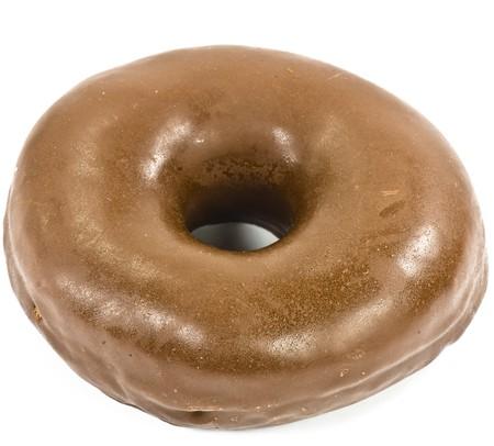 chocolate doughnut on white background photo