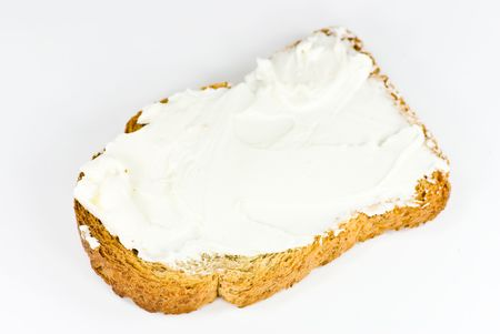 fresh slice of bread: bread with cheese spread
