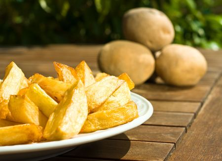frites: french fries on sunny day Stock Photo